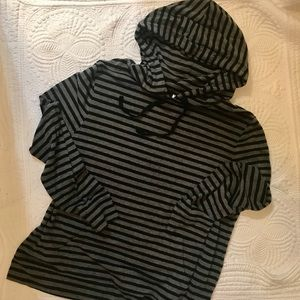 Old Navy Black and Grey Striped Hoodie
